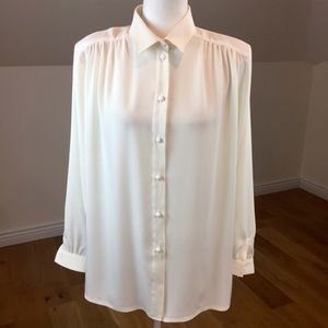 Vintage 80's Cream/White Long Sleeve Blouse